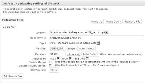 Using PodPress to publish a podcast